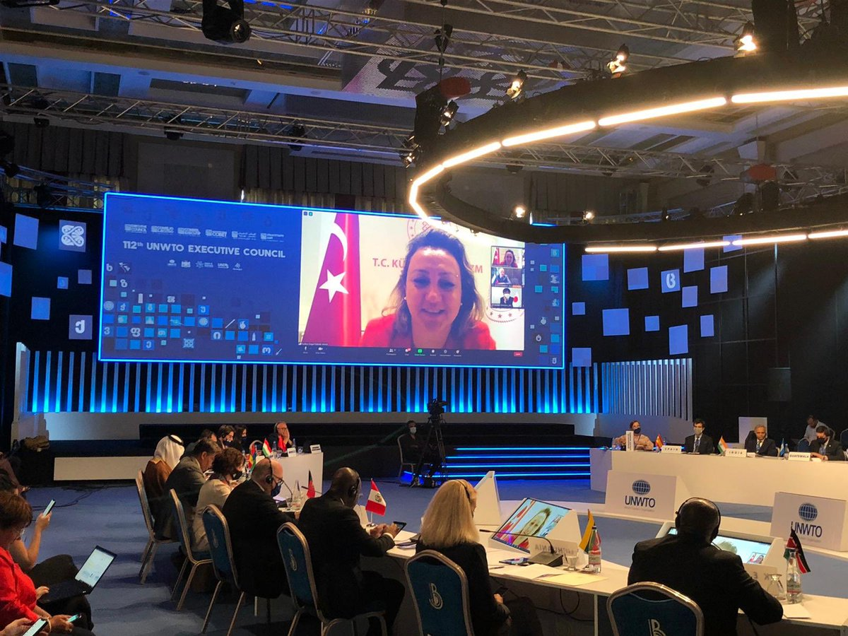 On video-conference, I shared Turkey's experience on restarting tourism, Safe Tourism Certificate and made remarks on the work of UNWTO during 112th Session of UN World Tourism Organization Executive Council held in Tbilisi, Georgia.  @UNWTO   #UNWTOECGeorgia #UNWTOEC https://t.co/eX5tQa0QjN
