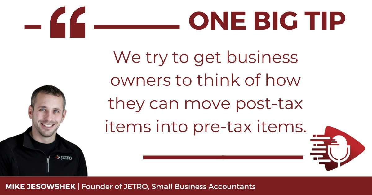 Taxes are incredibly complex and can easily be oversimplified. To learn more about how you can use helpful strategies to save on your small business taxes, listen to the #OneBigTip podcast E57 💰 https://t.co/junwrMEMVU #smallbusinessowner #taxes https://t.co/baz1YxyhLE