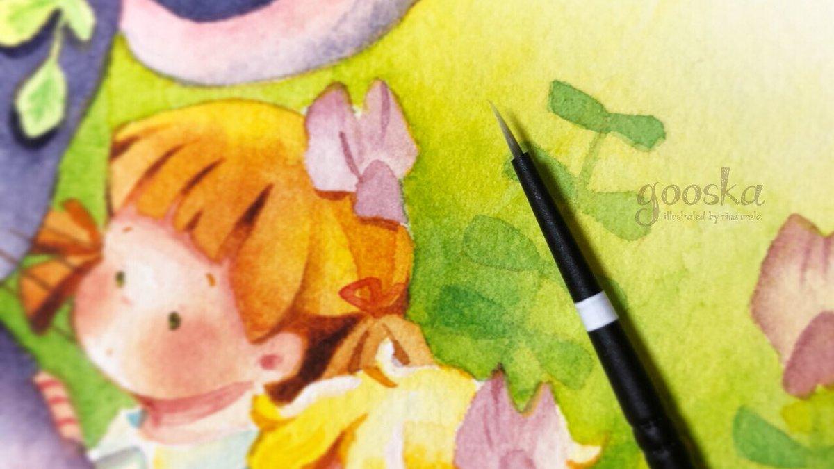 新しく大きめな絵を塗る時は、新しい筆を使います。良いぬりごこち!✨ https://t.co/IeJqnQQ4zP