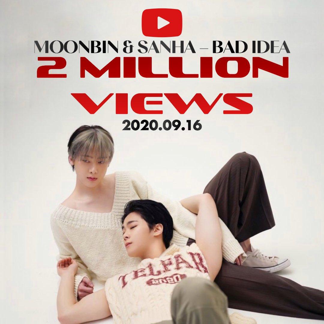 [#문빈_산하] INFO – 200916 After 20 hours, #BadIdea M/V has surpassed 2 million views (combined) on YouTube! 🔗youtu.be/K0oSaCS0_98 🔗youtu.be/CeOGfPANy44 #MOONBIN_SANHA#IN_OUT #배드아이디어 #BadIdea#아스트로#ASTRO