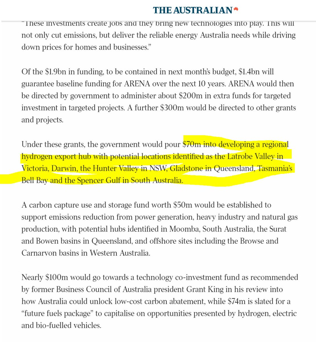 5) To do this there is $70m into developing a regional hydrogen export hub Potential locations are either brown coal, black coal or gas hubs (exception of Tas Bell Bay)!Clearly they want to use 'clean hydrogen' to save fossil fuels. https://www.theaustralian.com.au/nation/politics/power-to-change-renewable-energy-rules/news-story/c51c8a60d357d12c1ed496a1b5ecc121