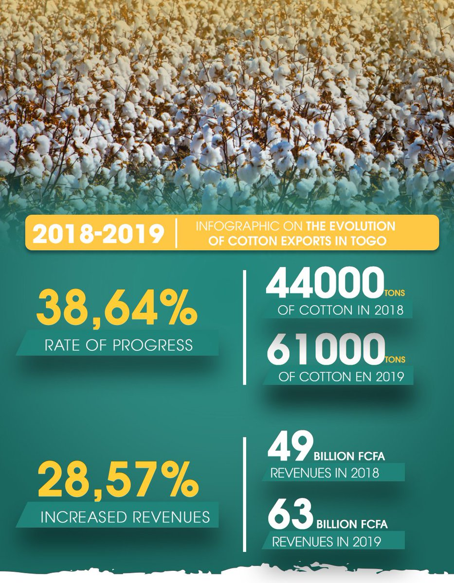 From 2018 to 2019, #Togo experienced an increase of nearly 38.64% in terms of the number of tons of #cotton exported with an increase of more than 28.57% in the revenues generated. #Agriculture  #Business  #Trade https://t.co/2qOMklzmnq