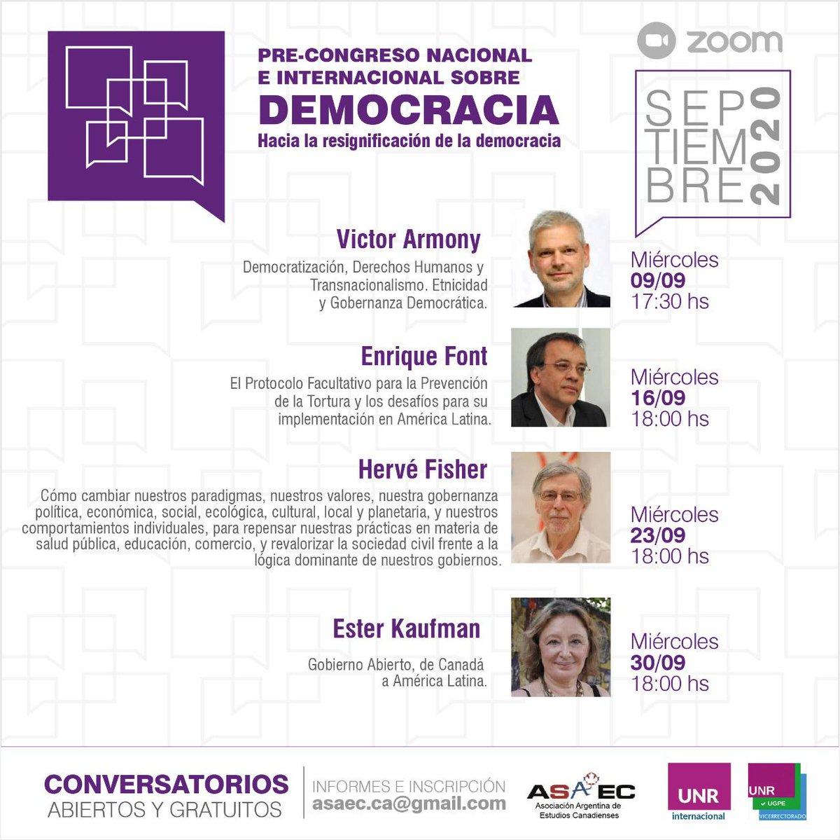 La #Démocratie favorise le débat d'idées. L'ambassade appuie la série de conversations virtuelles gratuites avec des spécialistes argentins et canadiens organisées par l'Association Argentine d'études canadiennes et l'UNdeRosario.  + infos: 👇 https://t.co/7qUKTR3JUn https://t.co/QQGAa7SPyr