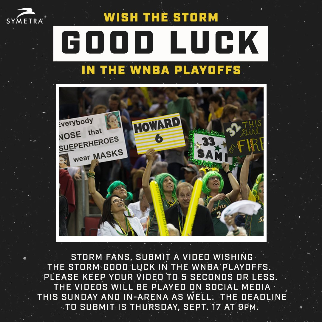 ⛈️🎥 Submit a video: Support the Storm in the Playoffs! 🎥⛈️  Submit a 5 second video wishing the Storm good luck in the @WNBA Playoffs. 💪  Deadline to submit is Thursday, September 17 at 9pm PT 📅  Submit Here ⬇️ https://t.co/L4Rb3fLlqe https://t.co/lWLNTzFl1V