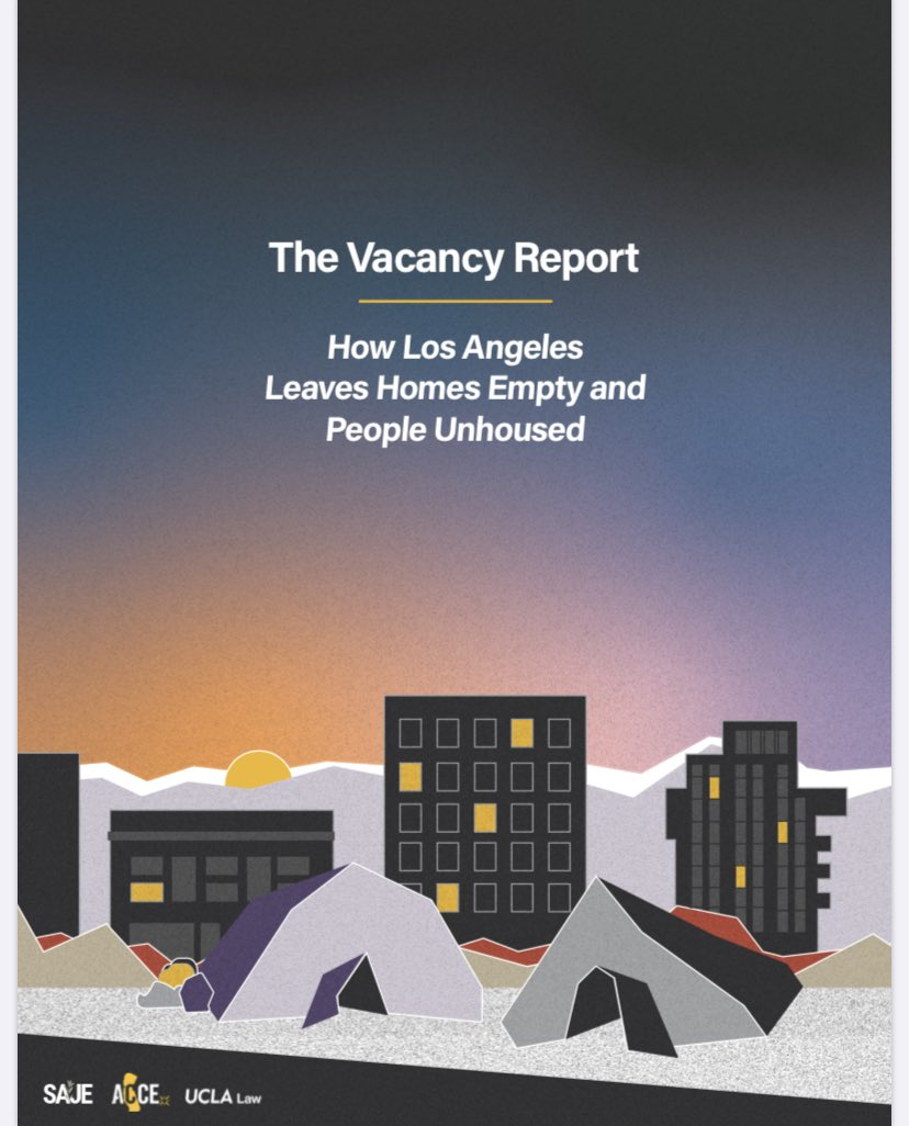 Our LA Vacancy Report is out! In it, we write ab what is often not addressed when we talk ab housing: that speculative finance is keeping homes vacant & people unhoused. Grateful to have worked w/ @spiroferrer @jacobwooch @DougSmth @tymonk_d @AryehCohen 👉🏼 https://t.co/axZIreYdiJ https://t.co/bsCiwiCvnI