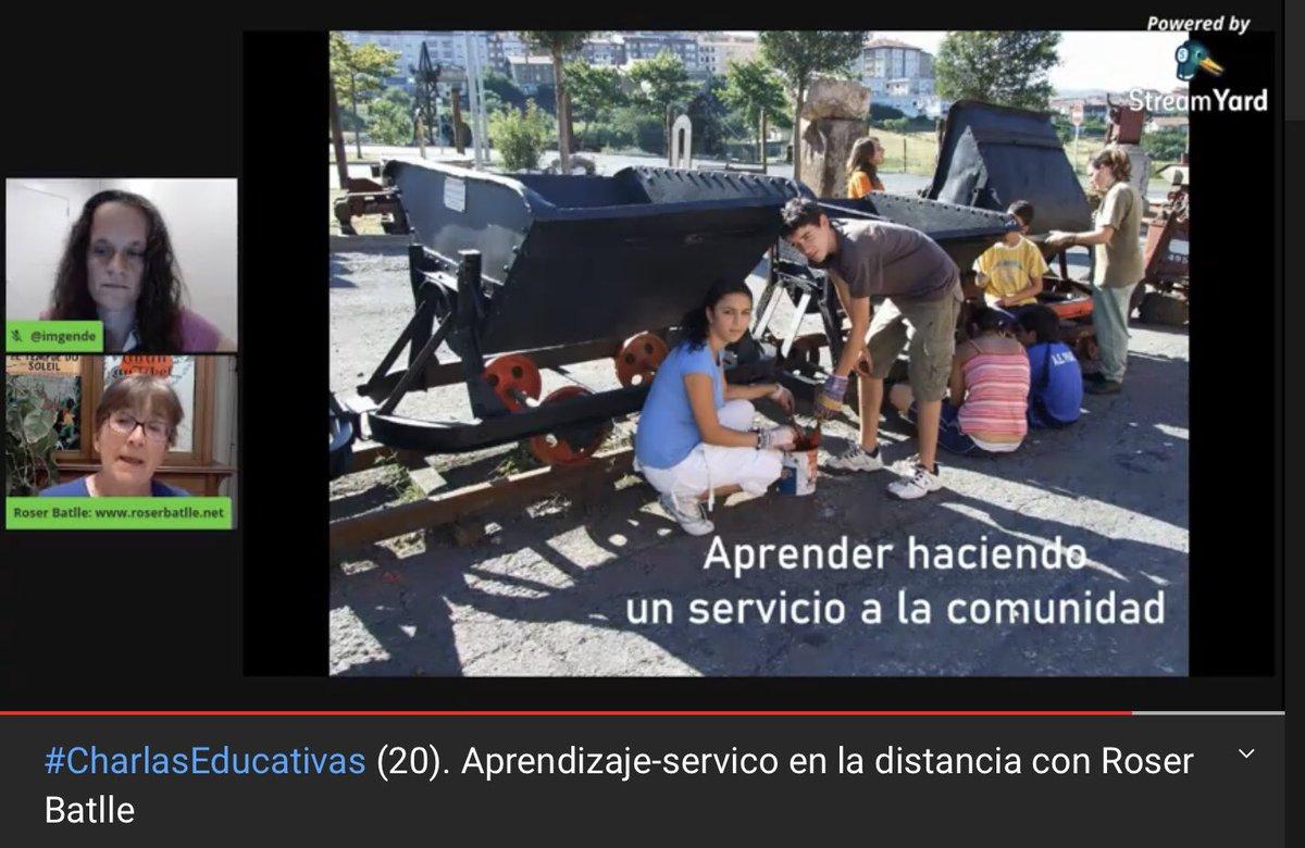 En directo #CharlasEducativas (20). Aprendizaje-servico en la distancia con @roserbatlle https://t.co/tSxnRhYoj1 @imgende https://t.co/SlhfyCQNGn