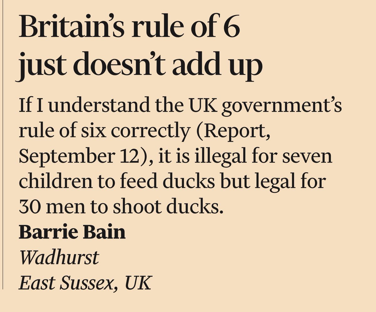 FT: Letter about rule of 6 #TomorrowsPapersToday