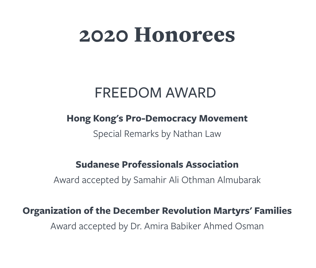 Hong Kong pro-democracy movement honored by @freedomhouse with the Freedom Award - watch tonight at 6:45 pm ET --->freedomhouse.org/event/2020-ann… #WeAreAllHongKongers