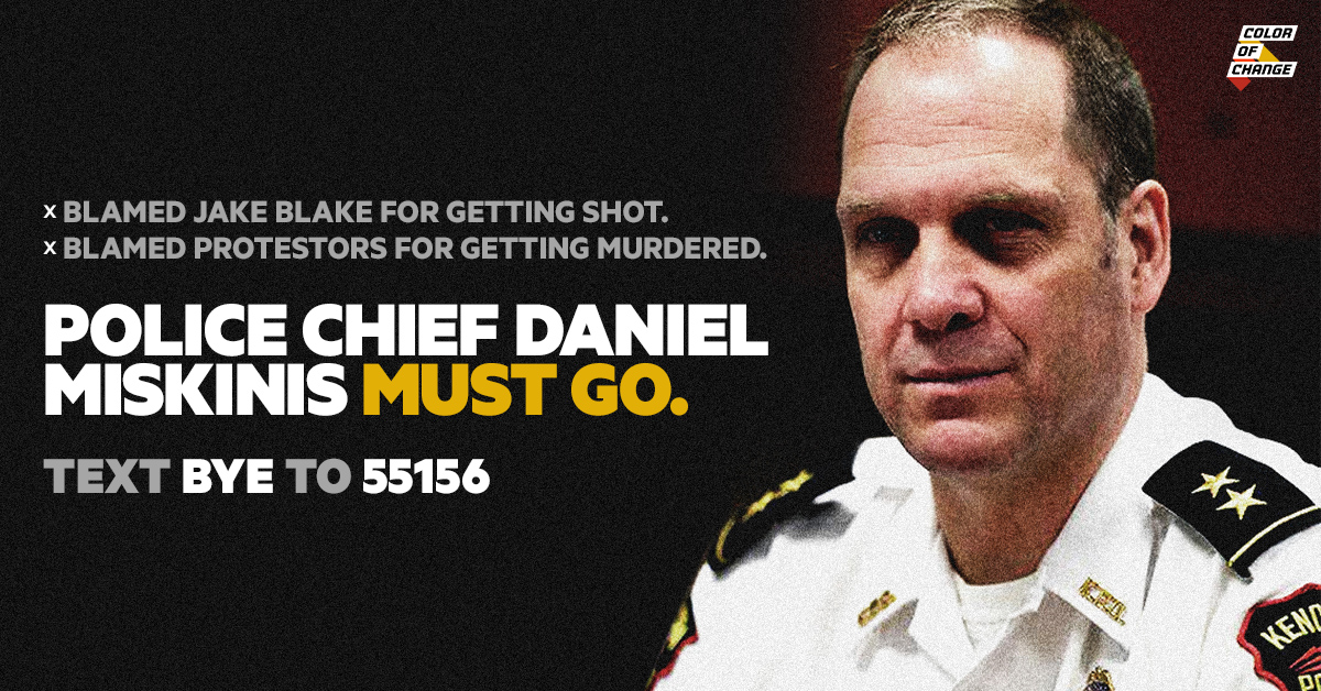 Black people in Kenosha, WI are NOT safe.  Police Chief Daniel Miskinis: - Blamed #JakeBlake for getting shot. - Blamed protestors for being murdered.  He's a constant danger to Black communities.  Send a fax to demand he be fired NOW: https://t.co/7QErlG4yUp https://t.co/YQ2zEa9Y3Z