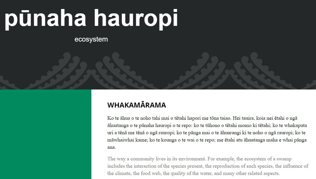 A pūtaiao/science term te reo website! Searchable, with audio for correct pronunciation & definitions in te reo too! https://t.co/mSuxw8Ug9b #māorilanguageweek #remāori https://t.co/i4n8waiNKq