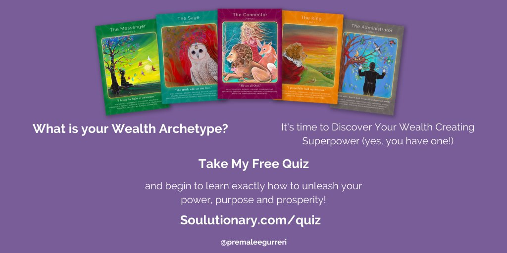 Take the first step to discovering your wealth creating superpower 💥 (yes, you have one!) and unleash ⚡️your power, purpose, and prosperity. Sign up for my free quiz here: https://t.co/5XMbGPlXXa #quiz #archetype #vedicastrology #oraclecard #tarot #premasoulwisdom #soulguidance https://t.co/yCVpMJSQGy