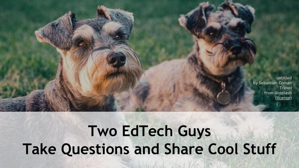Thu at 4p Eastern, 1p Pacific, @rmbyrne and I will do another episode of Two EdTech Guys Take Questions and Share Cool Stuff; join in! https://t.co/iA1yGFJixW #5DTC #LeadLAP #TLAP #CatholicEdChat #CAEdChat #Zoomedu #ISTEchat #FETCchat #MERIT20 Send ?s to: https://t.co/Y1e0o1fRdD https://t.co/KwcStq2puW