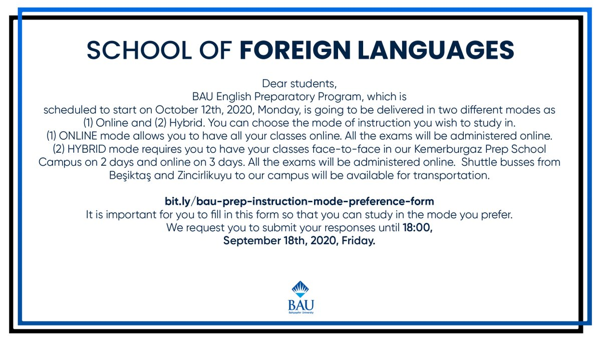 Important Announcement About the 2020-2021 Academic Year Fall Semester Hybrid Educational Model for Bahçeşehir University School of Foreign Languages!  https://t.co/FqPwEkjOOp https://t.co/ODsBeySl7Y