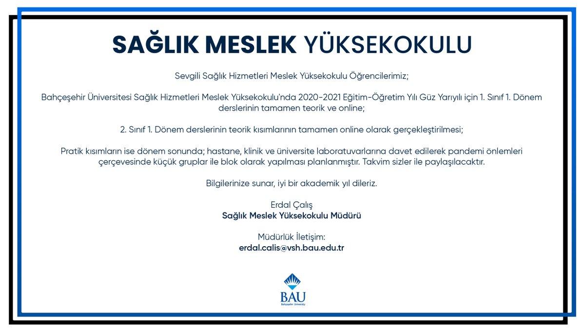 BAU Sağlık Meslek Yüksekokulu, 2020-2021 Akademik Yılı Güz Dönemi Hibrit Eğitim Modeli Hakkında Önemli Duyuru!  https://t.co/rKSTvvSI9T https://t.co/mem15bsX4h