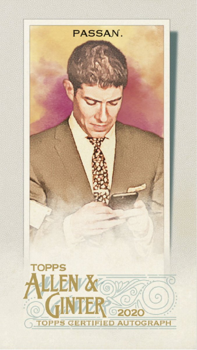So Topps Allen & Ginter made a baseball card of me ... sending a tweet. I signed a few cards. Others have a swatch of fabric from the suit I was wearing when @Mooose_8 beer-showered me in a playoff celebration. The set is super cool and you absolutely should grab a pack or two. https://t.co/4lufLxehJl