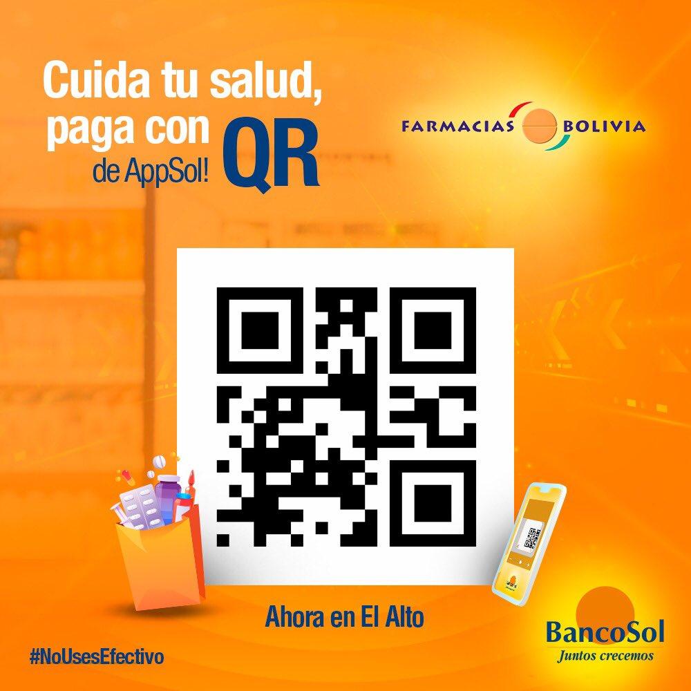 BancoSol piensa en tu seguridad. Ahora puedes pagar con código QR en muchísimos comercios, de todo el país. En FARMACIAS BOLIVIA de El Alto, ¡ya puedes pagar con código QR! Estamos con nuestra gente. #BancoSol #NoUsesEfectivo #VamosAEstarBien https://t.co/rKxNCI9en9