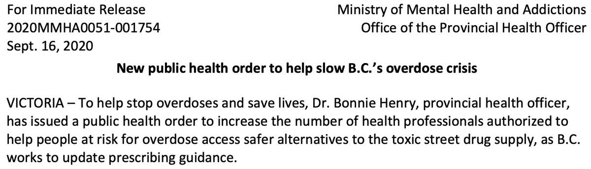 BREAKING: Dr. Bonnie Henry issues public health order allowing psych nurses, RN's to prescribe pharma alternatives to street drugs under BC's 'safer supply' guidelines https://t.co/nArK1poP3w
