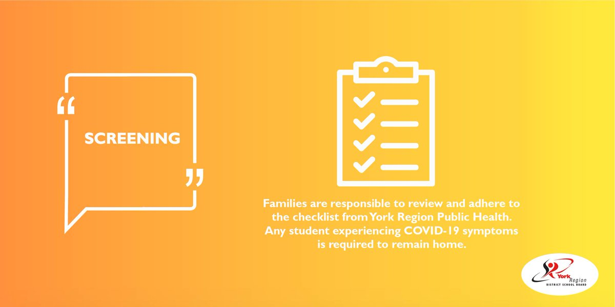REMINDER - On a daily basis, parents/guardians of students under 18 and students over 18 are responsible to review and adhere to the checklist from York Region Public Health.   Any student experiencing COVID-19 symptoms is required to remain home.  https://t.co/lybbK4P4DM https://t.co/7kR0IEdERj