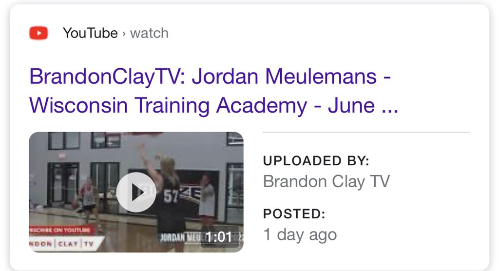 Brandon Clay #BCSTrainingAcademy  📍Iowa 🗓 Sept. 19-20  Before we train this weekend, '22 G Jordan Meulemans (WI) has a new @BrandonClayTV Video Eval.  WATCH 🎥 https://t.co/KzExaYHQOB  JOIN US https://t.co/2FPtlrUL2V  College #BClayRecruiting Profiles  https://t.co/tYNfZLbdO2 https://t.co/NzIchOX9mq