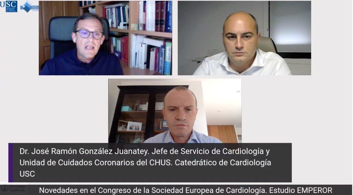 """¡Comenzamos! """"Novedades de #ESC2020 y el Estudio EMPEROR"""". El Dr. Portela Romero presenta a los ponentes Dr. @JoseJuanatey y Dr. @SergioCinza  👉Puedes seguirlo en directo desde aquí:  https://t.co/GwJ95rc7pY Envía tus comentarios y preguntas.  #SEMERGENGalWebinar https://t.co/BCem8OMGfu"""