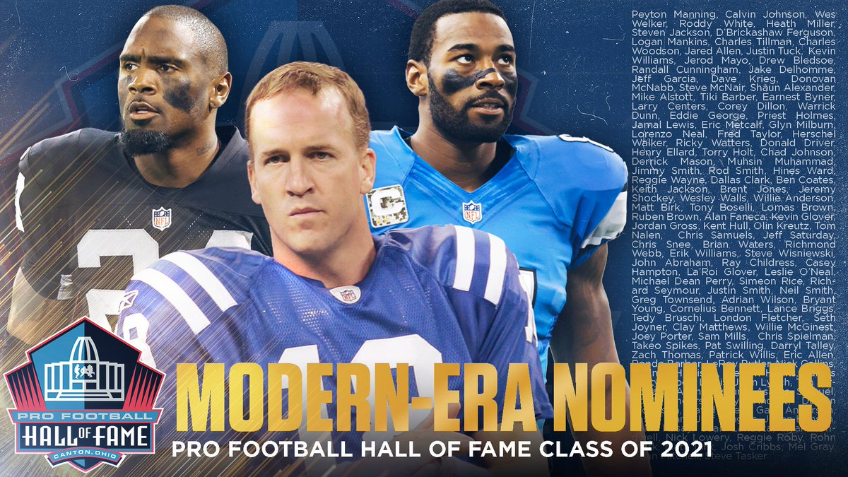 BREAKING:  The Modern-Era nominees for the Class of 2021 have been unveiled. The list is comprised of 130 players. Among the group are 14 first-year eligible players.  See all nominees: https://t.co/NlwbZvxoeD  #PFHOF21 https://t.co/2oIwVP7PAU