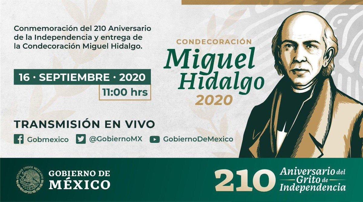 A partir de las 11 hrs, sigue las transmisiones  #EnVivo del desfile militar en Conmemoración por el 210 Aniversario de la Independencia y la entrega de la condecoración Miguel Hidalgo, otorgada al personal de salud por su labor contra el #COVID_19 https://t.co/H9VVDgAOgG