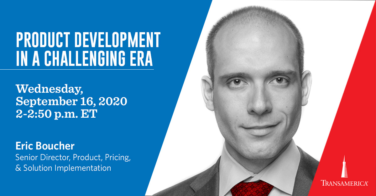 Don't miss out on a panel discussing product development during the time of COVID-19. Register to hear from Eric Boucher, Transamerica's Senior Director of Product, Pricing, & Solution Implementation:  https://t.co/f5HAIXZzHx https://t.co/bwPJe3npAX