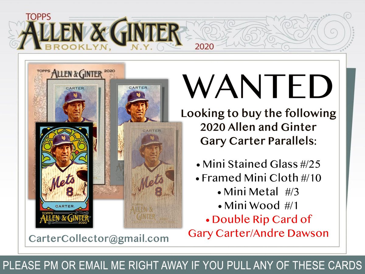 Looking to buy these 5 Gary Carter cards from 2020 @Topps Allen & Ginter.  Please PM me if you come across any of them.  Thanks!! https://t.co/N1QZKjelxy