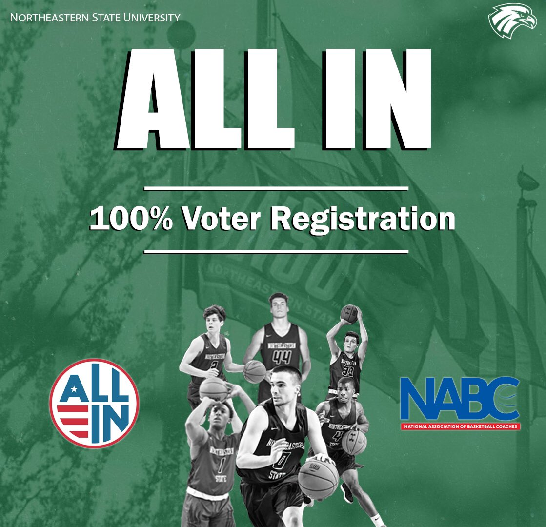We are officially 𝑨𝑳𝑳 𝑰𝑵 on the @NABC1927 @allintovote initiative! Our players and staff are 100% registered to vote❗️ Make sure you are registered! ➡ allintovote.org #TeamNSU I #AllInToVote
