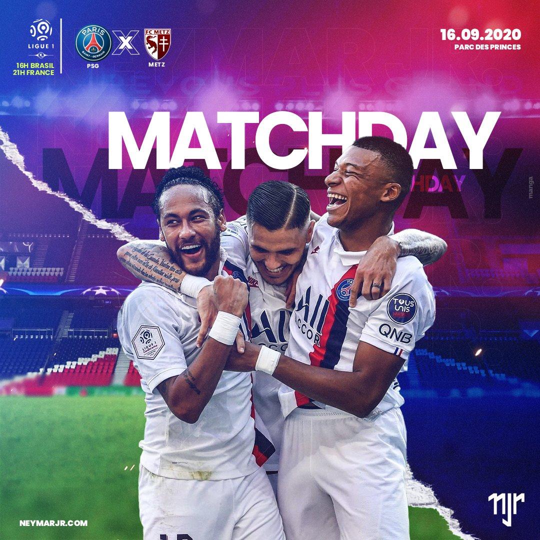 Neymar Jr não estará em campo, mas é dia de torcer pelo PSG no campeonato francês 🔴🔵  #MATCHDAY ⚽ PSG 🆚 Metz 🎯 Ligue 1 🏟 Parc des Princes ⌚ 16h 🇧🇷 - 21h 🇫🇷  Neymar Jr will not play today, but it's 'PSG Day' 🔴🔵  #Neymar #NeymarJr #PSG #ParisSaintGermain #Metz #Ligue1 https://t.co/iMDLWAHhpg