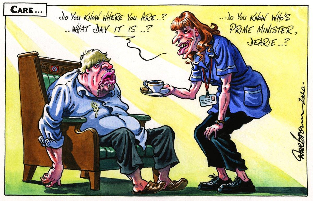 Tomorrow's @Independent cartoon... #BorisJohnson #AngelaRayner #PMQs #CareHomes #Carers #COVID19 https://t.co/Mposrvqpev