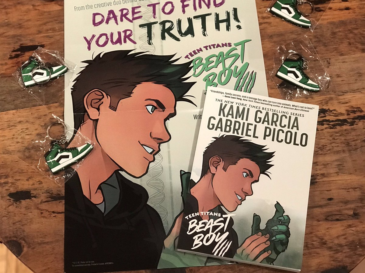 6 hours left! Join us for a free virtual event tonight at 7pm EST with @kamigarcia and @_gabrielpicolo, moderated by @hollyblack. When you buy the book you get a cool #beastboy keychain, locker poster & personalized bookplate, while supplies last! https://t.co/vvTbnbxsRc https://t.co/kPbIDtbkz1 https://t.co/EeD7ptwvZN