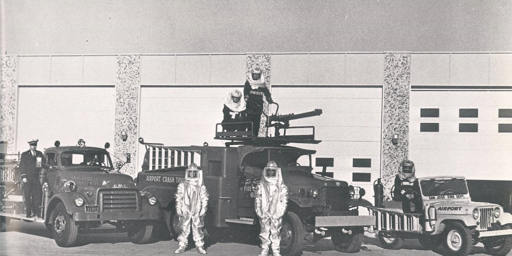 #WAYBACKWEDNESDAY: Taking it back to when the first fire station opened at SJC for Aircraft Rescue and Fire Fighting (ARFF).   Can you guess what year this photo was taken?   More info: https://t.co/vni3MrC5nM  #ARFF #Station20 @SJFD https://t.co/K3dSWVayrI