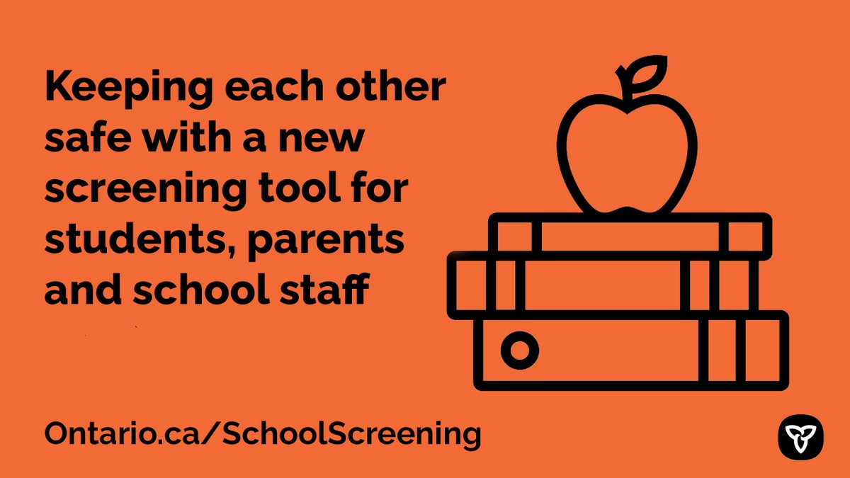 Ontario has launched a new voluntary screening tool for students, parents and staff to assess #COVID19 symptoms and risks.  The results will let parents and students know whether they should go to school each day. #KeepingKidsSafe  Check it out, here: https://t.co/QFXiqKPjKb https://t.co/nkj0aTJZU2