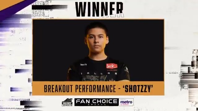 The MVP, @Shotzzy added another award to his resume with Breakout Performance in the @MetroByTMobile Fan Choice Awards!