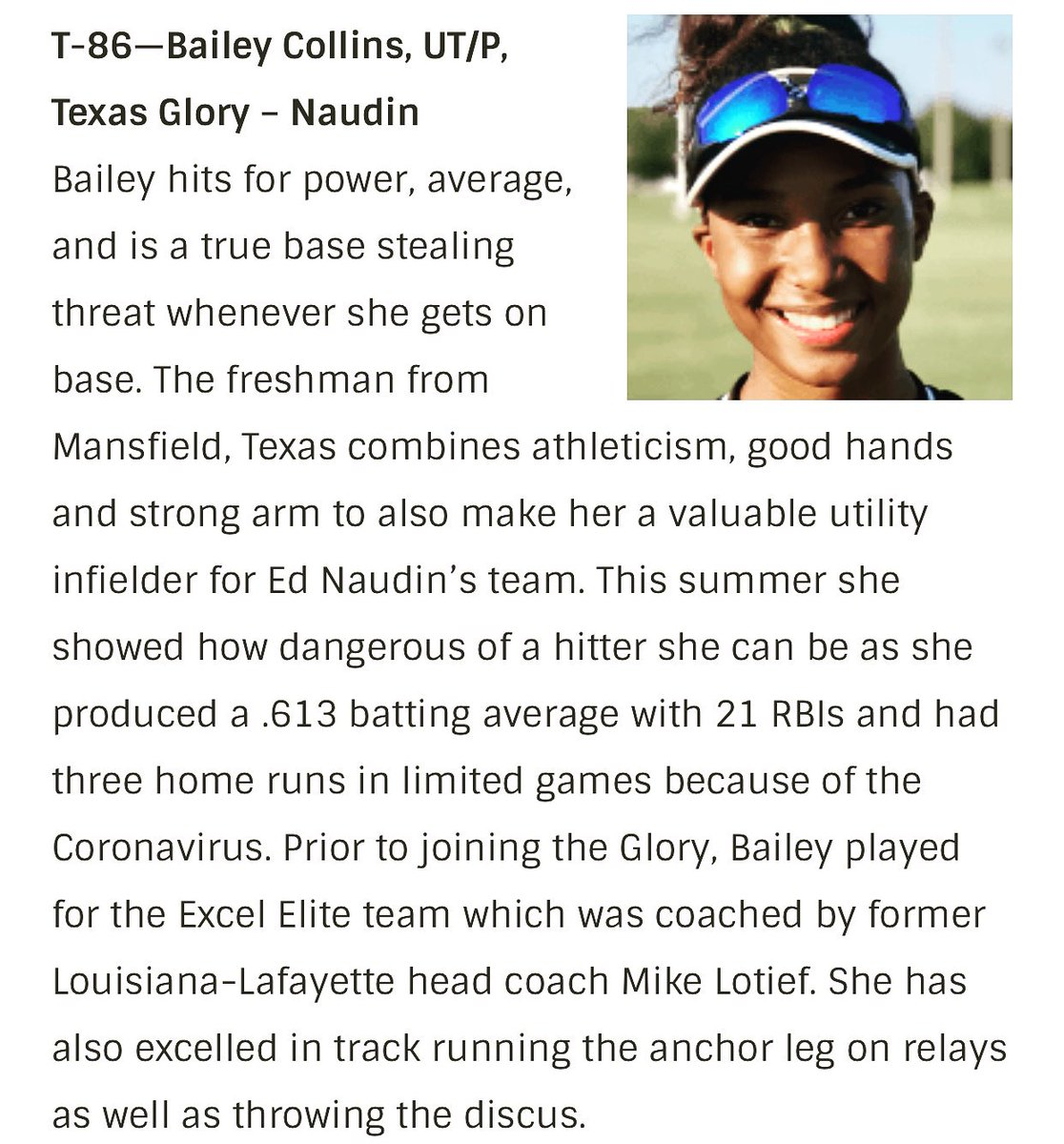 No matter what the goal never changes...Get Better Everyday!!! Congratulations Bailey! Thank you @Los_Stuff @BrenttEads @ExtraInningSB for the recognition. #CollinsGirls #LionOrGazelle #Elite100 @16uGloryNaudin @ednaudin @CedriColeman @mimi_k23 @The_MARR11 https://t.co/J9SH1lSzaW