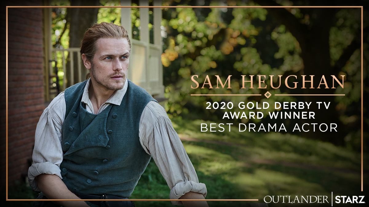 """Congratulations to @SamHeughan on his @GoldDerby TV Awards """"Best Drama Actor"""" win! 🥳 #Outlander https://t.co/nDkXjwU6Ck"""