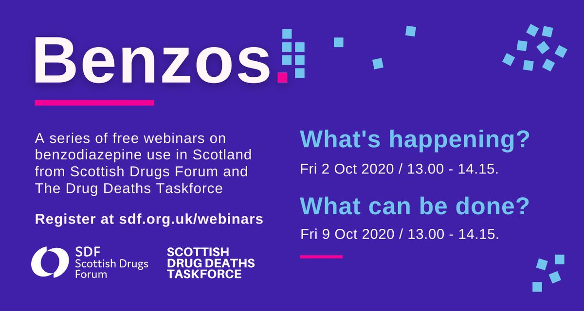 SDF and the Scottish #DrugsDeathTaskForce have announced two free webinar events on the use of illicit #benzodiazepines; the link with fatal drug overdoses; and means to address the challenge of benzodiazepine use in #Scotland  https://t.co/asRg6ZSX6Q https://t.co/NKYVfrWh3C