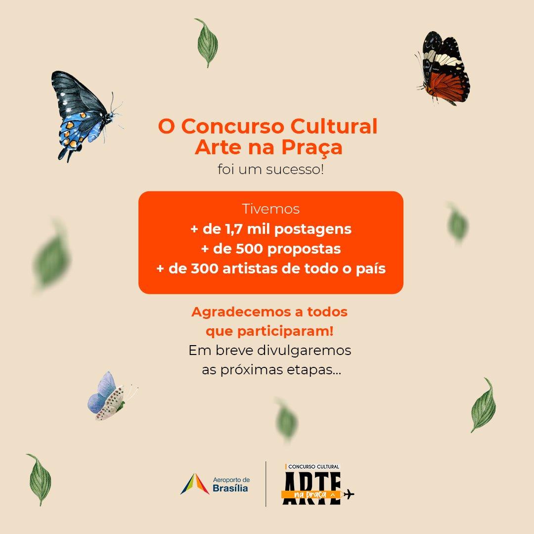 Sabe como a gente soletra Concurso Cultural Arte na Praça? S-U-C-E-S-S-O! Tivemos números incríveis de participação!  Por isso, a nossa comissão julgadora precisa de mais tempo para avaliar as artes! Logo mais divulgaremos os finalistas aqui.   #AeroportoBSB #Brasília https://t.co/4aEE4qcw4U