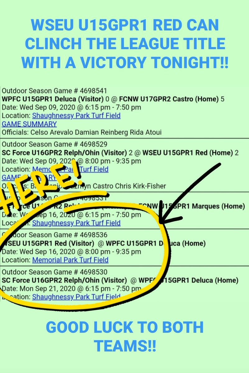 🏆 ALERT!!  With a victory tonight WSEU U15GPR1 can clinch the League Title!!  Good luck to both teams!!  #gogetit #trophychasers #beautifulgame https://t.co/RVAxryS150