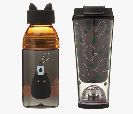 #blackcat#黒猫#スタバ#ハロウィン あれ?今年はずいぶん発表早くね?というか猫耳ボトル日本でも出るんかーーーーーーーーい!!タンブラー、下に黒猫!!!!買うーー!