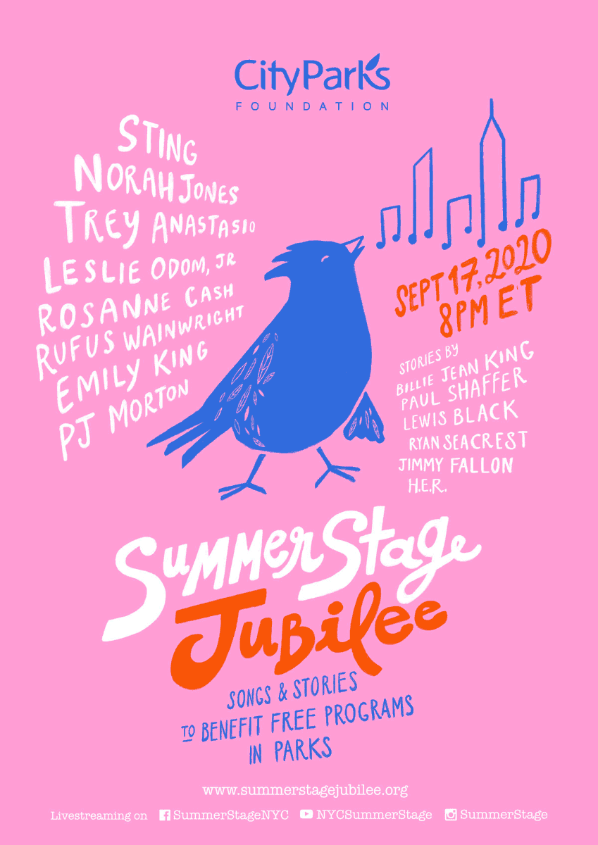 Tomorrow, the @SummerStage Jubilee is livestreaming to benefit free community programs in NYC parks. Visit the link below to watch the show (be sure to catch AD Alumni @NorahJones and @rufuswainwright)!    https://t.co/vRx73OFYCK https://t.co/jeZEzNNiw7