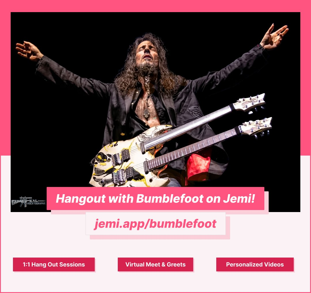 If you haven't checked out @bumblefoot's Jemi page yet...You're definitely missing out! 🎸 Got to https://t.co/ekG6MDWwpD to book 1:1 hang out sessions or personalized video responses from Ron. 💯 https://t.co/Hz8Z7Xb0Dm