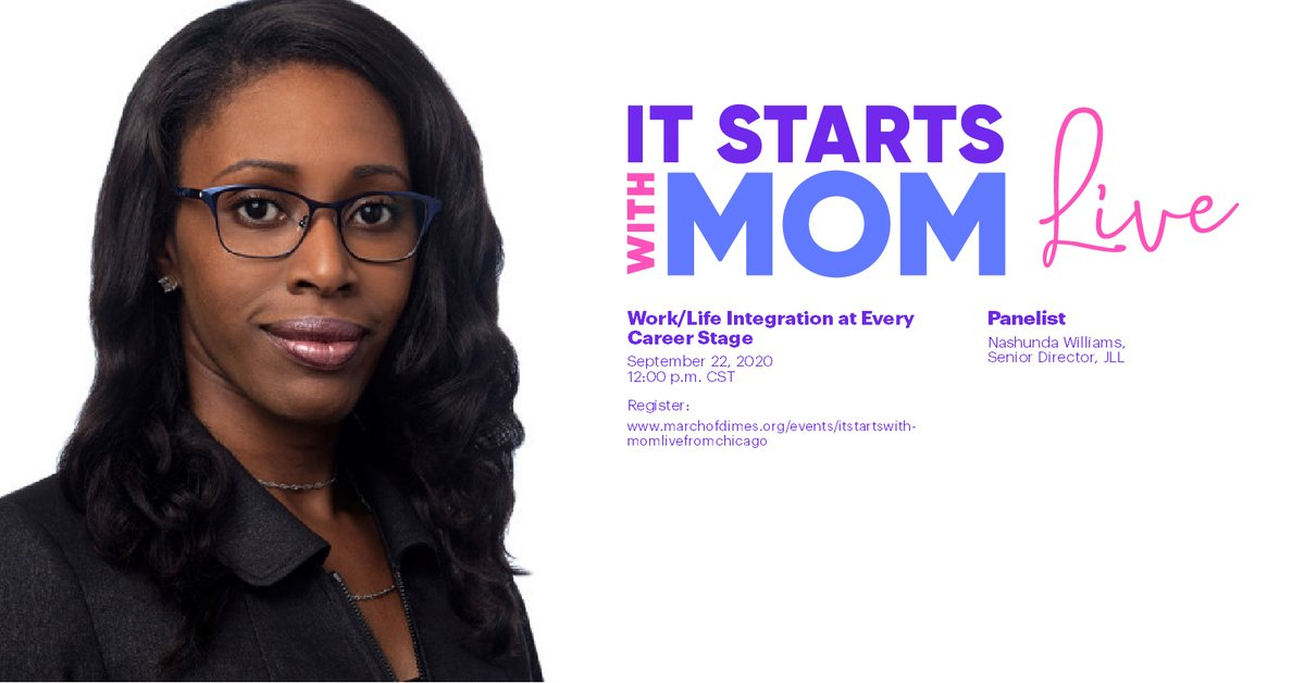 Thanks to generous partners like @JLL, we are able to host an honest conversation with Nashunda Williams and other leaders about work & life integration at every career stage on 9/22. Register https://t.co/pVfHJBYh6y #marchofdimes #itstartswithmom #jll https://t.co/DAgs2O2axz