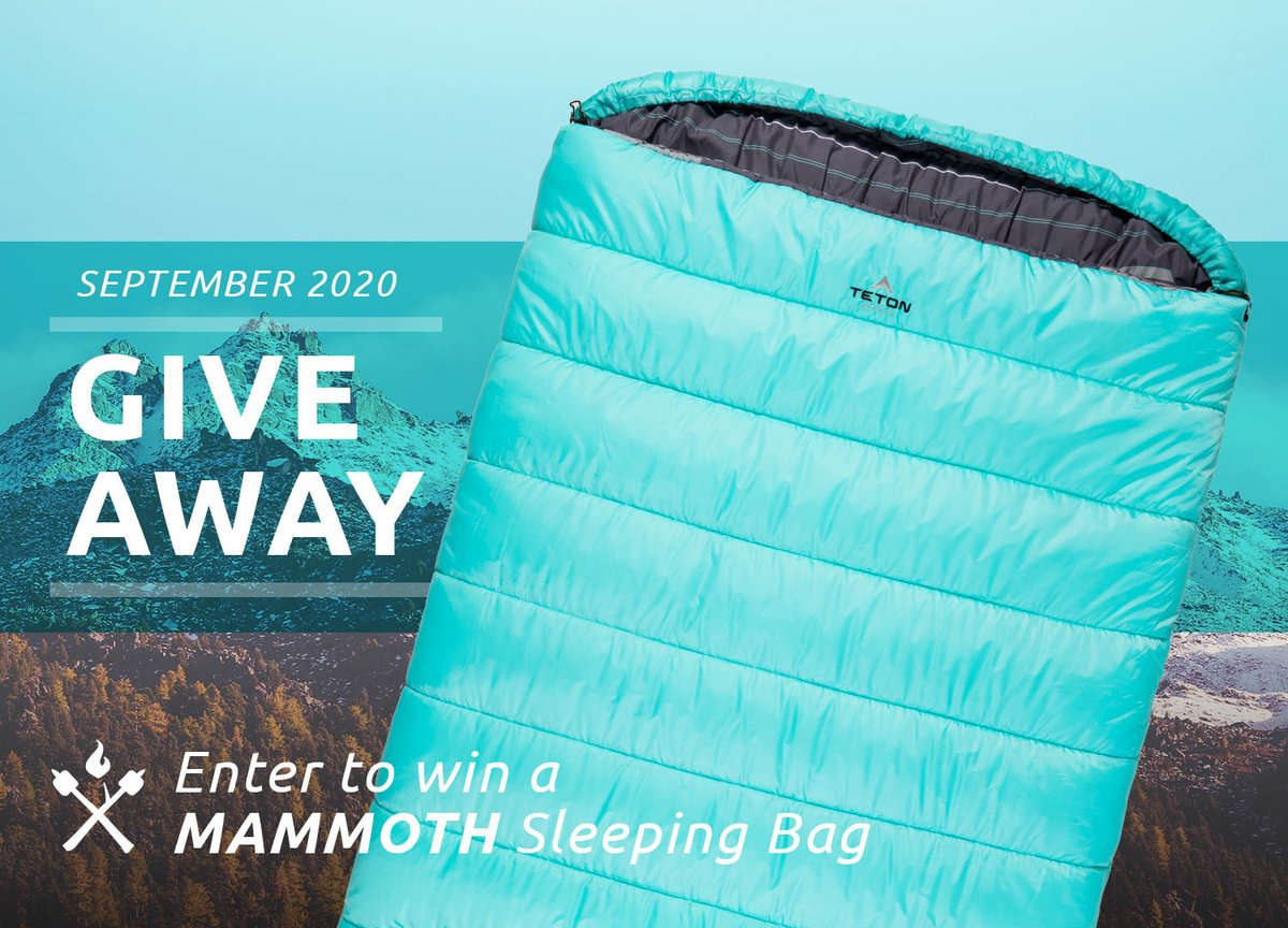 GIVEAWAY TIME! We're giving away a Mammoth Double Sleeping Bag. To Enter:  1) Like it 2) Retweet it 3) Follow TETON Sports  #tetonsports #enjoylife #nature #outdoors #adventure #discover #exploremore #hiking #camping #mountains #wilderness #wildernessculture #hikerchat #giveaway