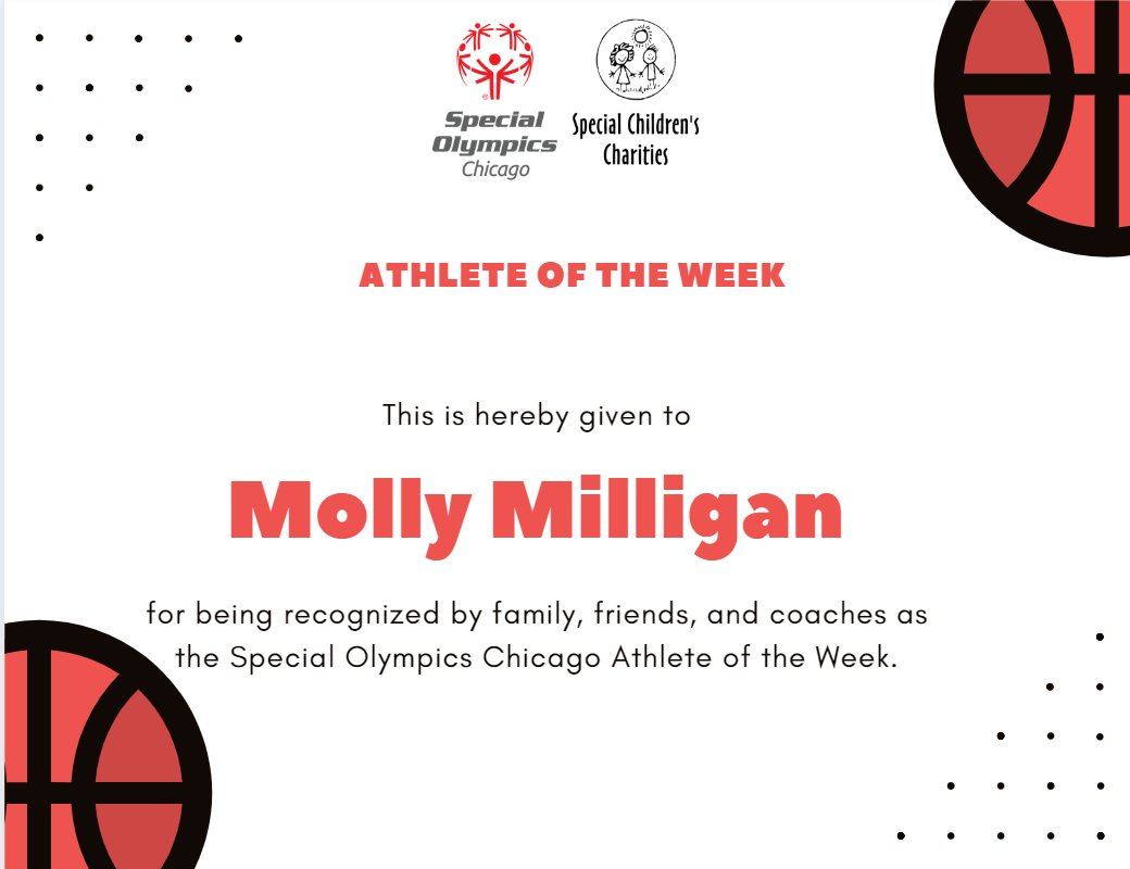This week's athlete of the week is Molly Milligan. Molly is a participant at Shabbona Park.   Find out more about Molly and nominate a superstar athlete that you know for athlete of the week on our website! https://t.co/bGPlhYMUvZ https://t.co/LOA2DDQrfy