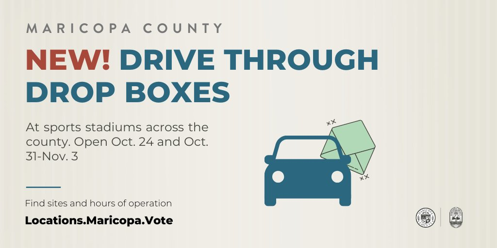 (6 of 8) NEW!! We are also adding drive through drop boxes, to provide voters with a contactless, early ballot return experience. Thank you @cactusleagueaz , @AZCardinals, @Suns (Veterans Memorial), @turf_paradise ! Dates: Oct. 24 & Oct. 31-Nov. 3. https://t.co/8YEmXbWyRL https://t.co/bOGQGkhciq