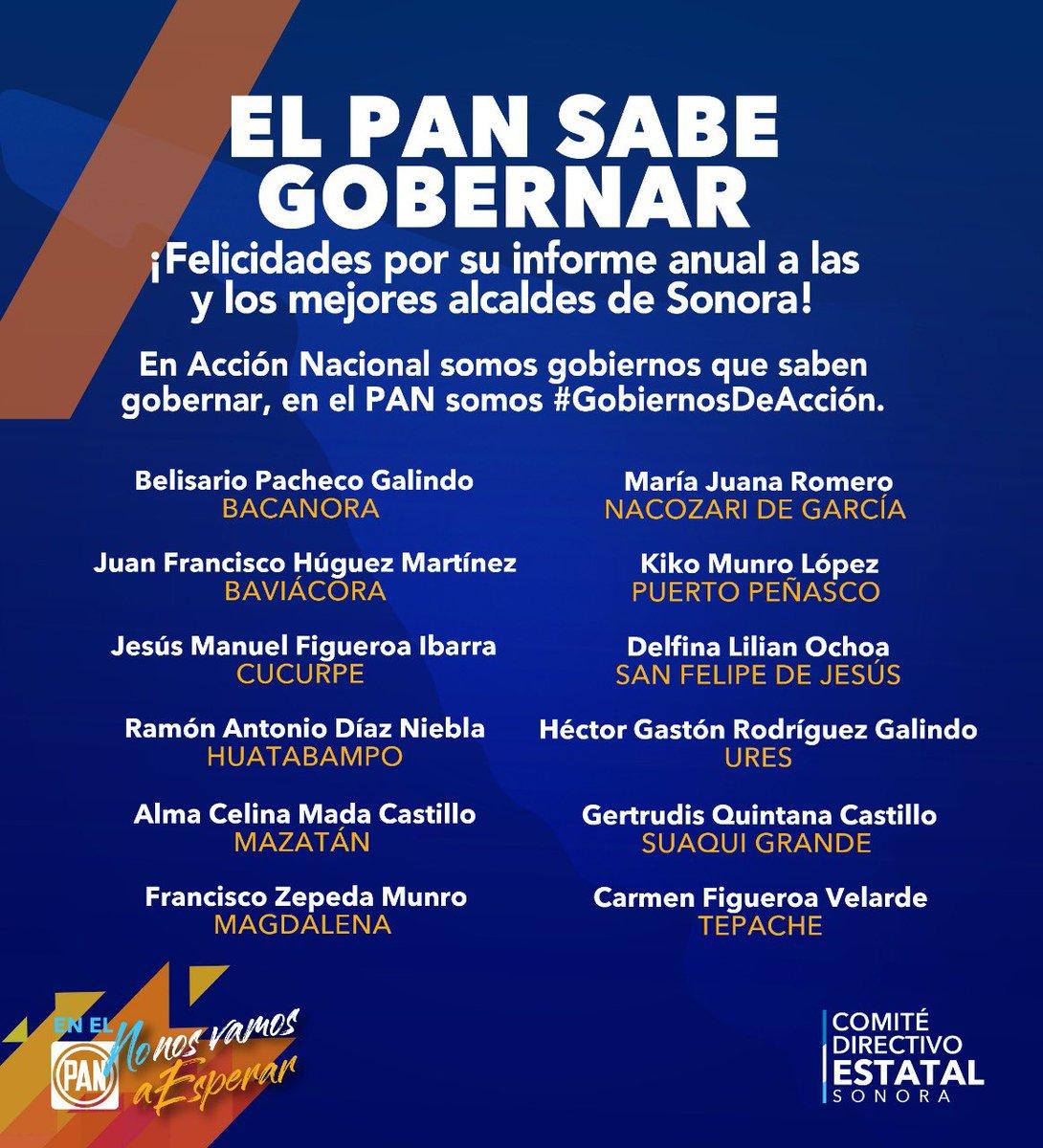 Los #GobiernosDeAcción son los mejores para gobernar, mejores resultados y en el #PANSonora lo decimos con orgullo y fuerza ¡Si hay de otra!  #NoNosVamosAEsperar  ¡Felicidades por su informe anual a las y los mejores Alcaldes de Sonora! https://t.co/y7TuF5WbBp