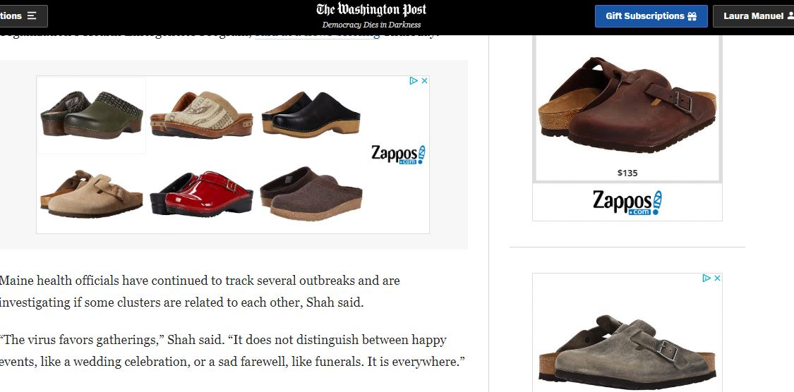 I looked at clogs ONE TIME on @zappos. Now sites I once loved like @washingtonpost have transformed into a clogs-ridden hellscape. Someone help me escape this. https://t.co/KV8Nef3chN