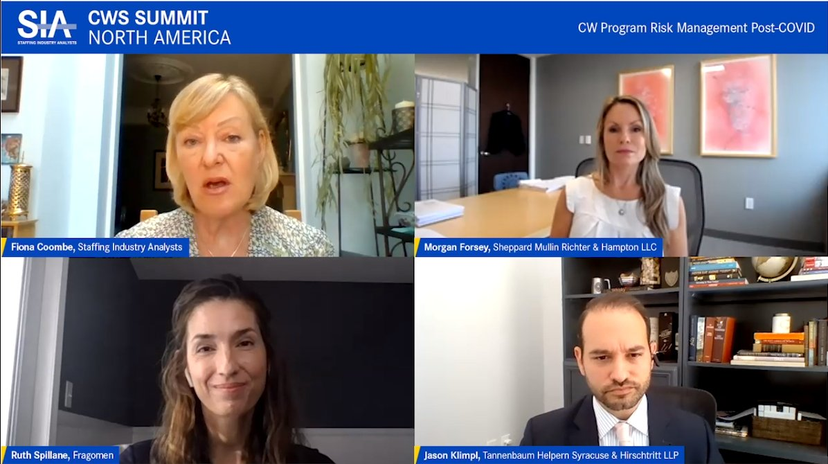 Happening now at #cwssummit: @SIAnalysts's @Fiona_Coombe moderates a panel of legal experts discussing risks in the current environment including new immigration regulations, worker privacy and ensuring health precautions remain top priority for all workers. @cwssummit https://t.co/zC68LRBBhS